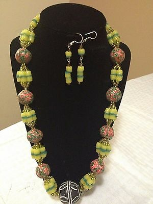 New African Beaded Necklace and Earring Set Ethnic Africa Handmade Jewelry 22""