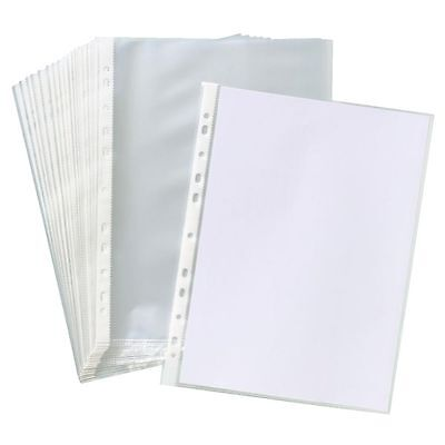 100 x A4 Clear Plastic Punched Pockets Folders Filing Wallets Sleeves Wallets UK