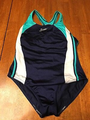 Girl's Youth Speedo Navy Blue Green One Piece Swim Suit Size 16 Youth
