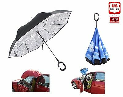 Reverse Folding Inverted Umbrella Double Layers Inside Out Upside Down C-Handle