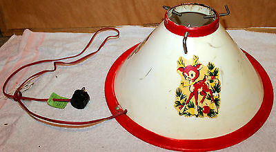 """Vintage 1950S Hard Plastic Light Up Christmas Tree Stand W / Holiday Decals 14"""""""