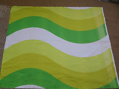 Retro Vintage Green Yellow And White Geometric Cotton Fabric....