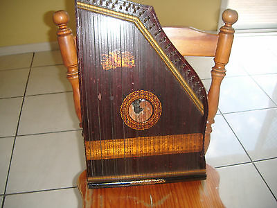 Antique Zither Guitar Harp