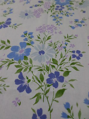 Retro Vintage Blue And Purple Floral Cotton Sheet Fabric......