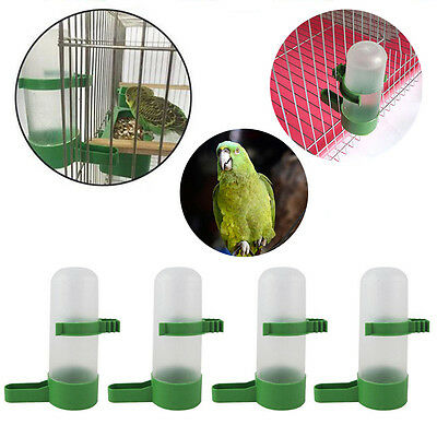 4Pcs Plastic Pet Bird Drinker Feeder Water Bottle With Clip Green For Aviary SS