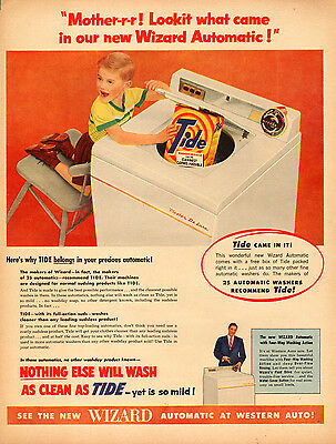 1950s vintage AD TIDE Laundry Soap and WIZARD Automatic Washer 112014