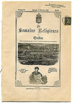 Canada Quebec - Cap Sante 1894 1/2c Small Queen - Printed Rate Journal to France
