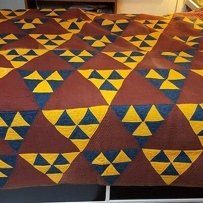 Primitive Cheddar, Brown and Blue Quilt with Homespun Backing