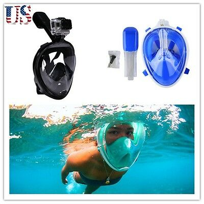 Water Sports Swimming Full Face Mask Surface Snorkel Diving SCUBA For GoPro Swim