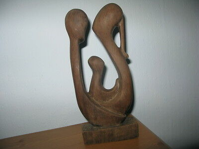 Carved wooden figure showing Mother,Father and Child Unboxed