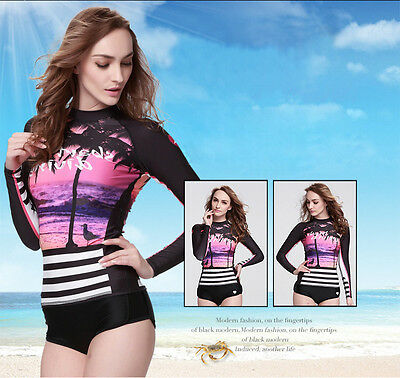 Women Long Sleeve Wetsuit Shirt Swimming Surfing UV Protection Rashguard Tops