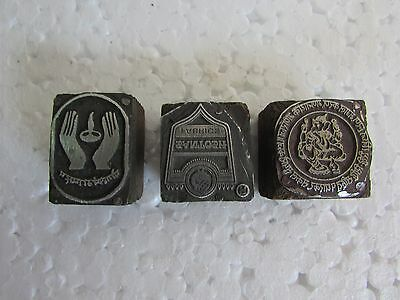 Lot of 3, Vintage Metal Printing  Letter Press  Block / Stamp Collectible