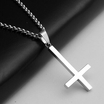 316L Stainless Steel Inverted Cross Pendant Necklace Silver Chain Jewellery Gift