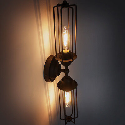 Industrial Vintage 2-Light Double Head Mini Long Cage Shade Metal Wall Sconce