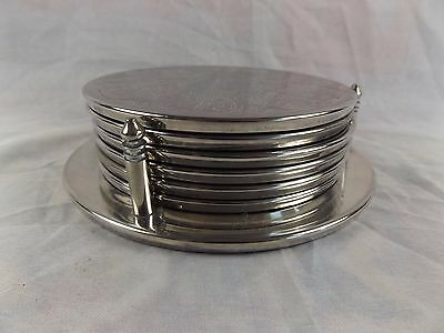 Vintage Set of 6 x Silver Plate Drink Coasters with Caddy Stand