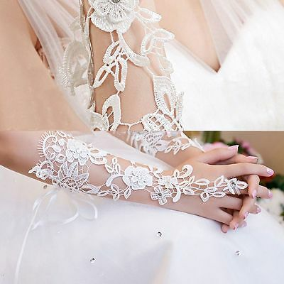 Lace Flower Rhinestones Fingerless Gloves Wedding Party Indoor Decoration Prom