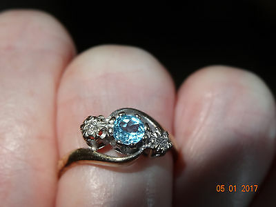 Vintage 9ct Yellow Gold Topaz and Diamond Ring size i