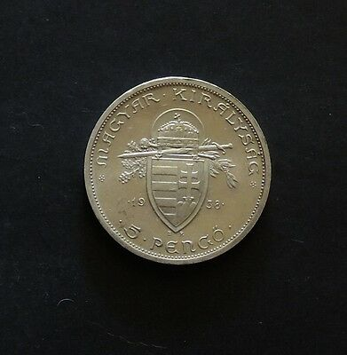 Hungary St Stephen 1938 5 Pengo Silver Very nice Coin.