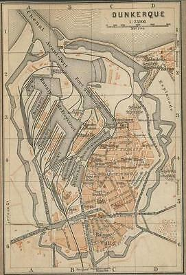Old map (year 1908) of the City of Dunkerque in France .