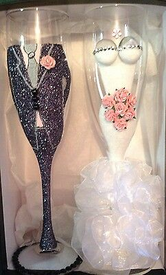 Mr & Mrs gorgeous bride and groom wedding champagne flutes boxed