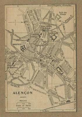 Old map (year 1929) of the City of Alençon in France .