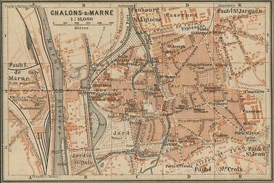 Old map (year 1906)  the City of Chalons-sur-Marne, in France .