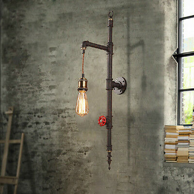 Industrial Vintage Pipe 1-Light Hanging Exposed Bulb Beside Wall Light in Rust