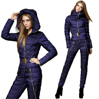 Womens One Piece Ski Snow Board Suit BIB Down Snowsuits Navy Bule Waterproof