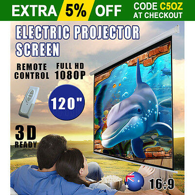 """120"""" Electric Motorized Projector Screen HD TV Wall Projection Home Theatre New"""