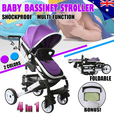 NEW 4 in 1 Baby Toddler Pram Stroller Foldable Buggy Jogger With Bassinet Travel