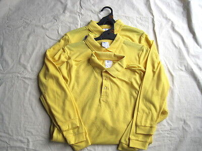 3 x Yellow Long Sleeve School Uniform Polo Tops - Size 16 - Brand New