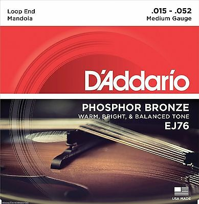 D'Addario EJ76 Phosphor Bronze Mandola Strings.Medium Gauge 15-52 Loop End