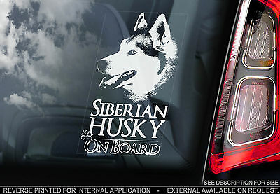Husky - Car Window Sticker - Siberian Dog on Board Sign Art Print Gift - TYP1