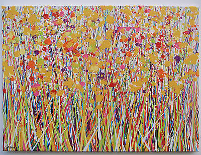 Large Modern Art Abstract Yellow Dandelion Flower Landscape Painting On Canvas
