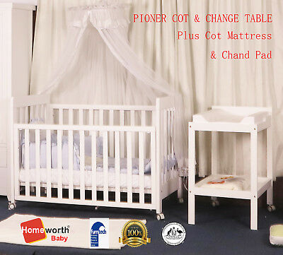 3 in 1 PIONEER COT & Change Table CRIB  BABY TODDLE JUNIOR BABY BED white AU