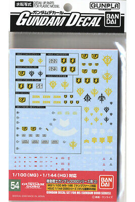 GD54 Gundam Decal GUNPLA HGUC High Grade 0080 Zeon Series 1/100 1/144 BANDAI