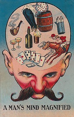 Old Comic Postcard - A Man's Mind Magnified