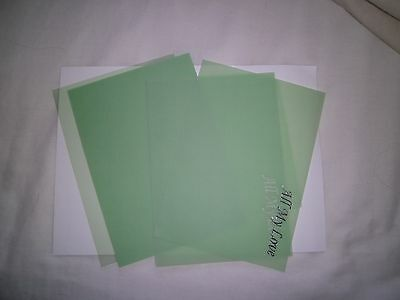 "12 8"" x 6"" Vellum Inserts/wraps - Green - Silver text - new"