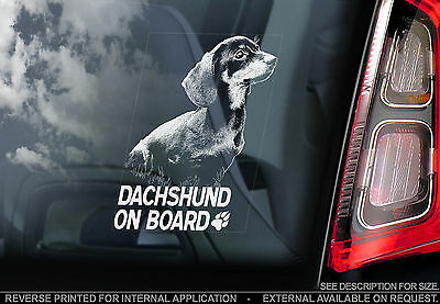 Dachshund - Car Window Sticker - Dog on Board Sign, Short-Haired Teckel - TYP1