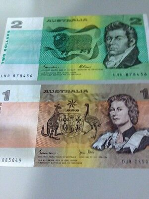 2 dollars & 1 dollar - Australian Bank Notes  $2 & $1 Circulated