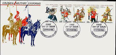 Australia FDC First Day Cover - 1985 Colonial Military Uniforms