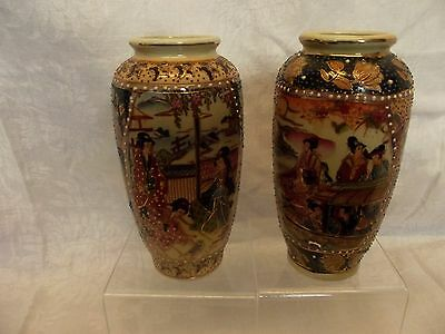 """Pair of small Satsuma-type Vases 16"""" high"""