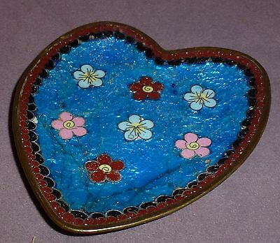 Chinese Cloisonne Early C19th Heart Shaped Coin Tray Amazing Design Very Good