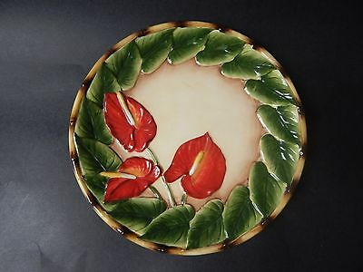 """PACIFIC RIM DINNER PLATE  9 """" Exotic Anthurium Flower with Bamboo"""