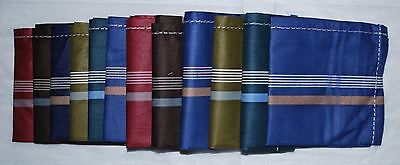 Mens Handkerchiefs 100% Cotton 12 Pack 42 cm Square 6 Dark Colour Shades