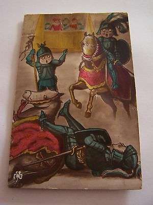Vintage Squeaker Postcard Working Knights in Armour Horses Jousting Novelty