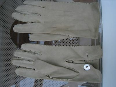 Vintage Antello Beige Suede Gloves