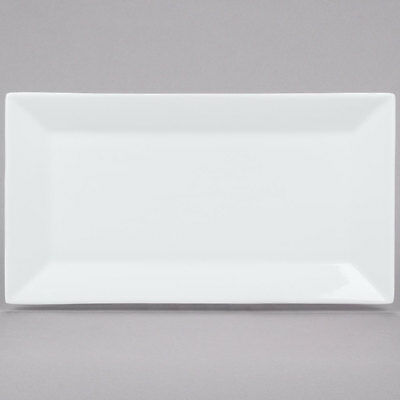 "12 NEW Core 13 x 7 1/4"" Bright White Restaurant Catering Rectangle China Plates"
