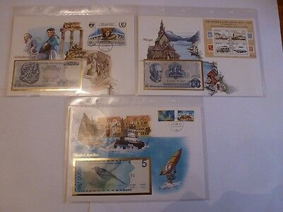 Collection: 3 banknotes covers  in original envelope with stamps,