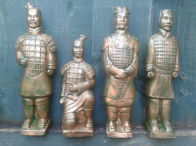 Set of 4 Terracotta Army Warrior Chinese Garden Ornament Statue 26cm Frost Proof